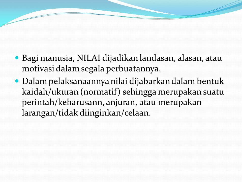  Bagi manusia, NILAI dijadikan landasan, alasan, atau motivasi dalam segala perbuatannya.  Dalam pelaksanaannya nilai dijabarkan dalam bentuk kaidah