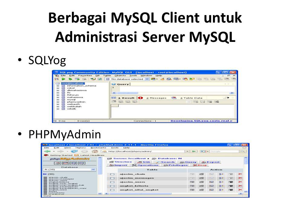 Berbagai MySQL Client untuk Administrasi Server MySQL • SQLYog • PHPMyAdmin