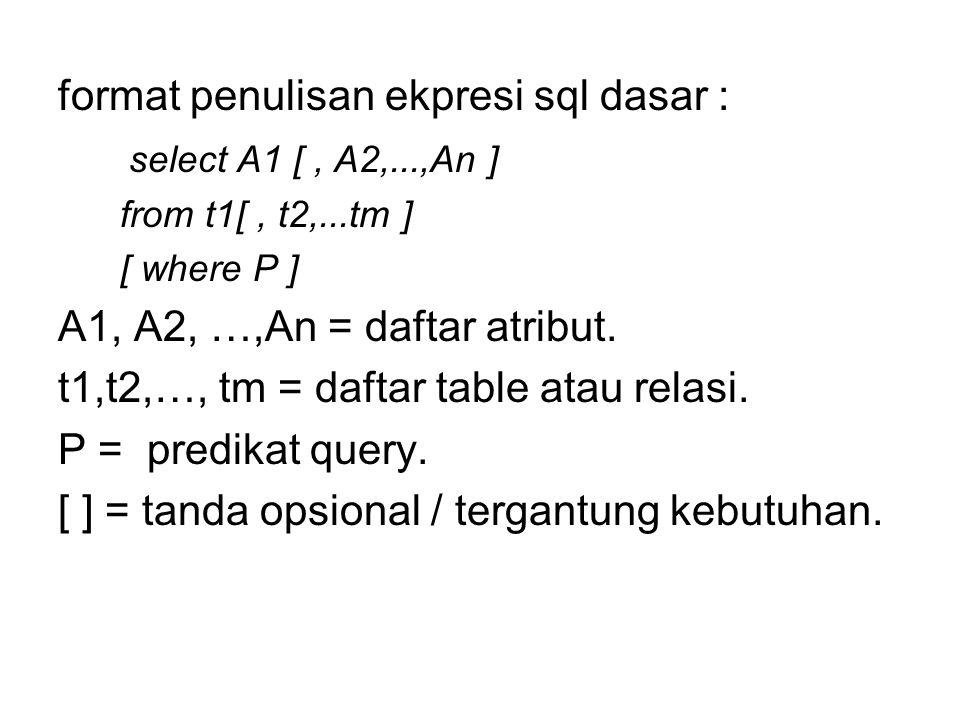 1.Klausa Select Berorientasi pada operasi projeksi dalam bahasa query Formal contoh : tampilkan nim, nama dari tabel mahasiswa.
