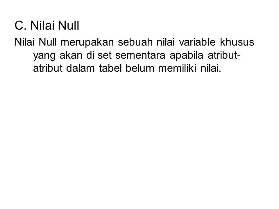 C. Nilai Null Nilai Null merupakan sebuah nilai variable khusus yang akan di set sementara apabila atribut- atribut dalam tabel belum memiliki nilai.