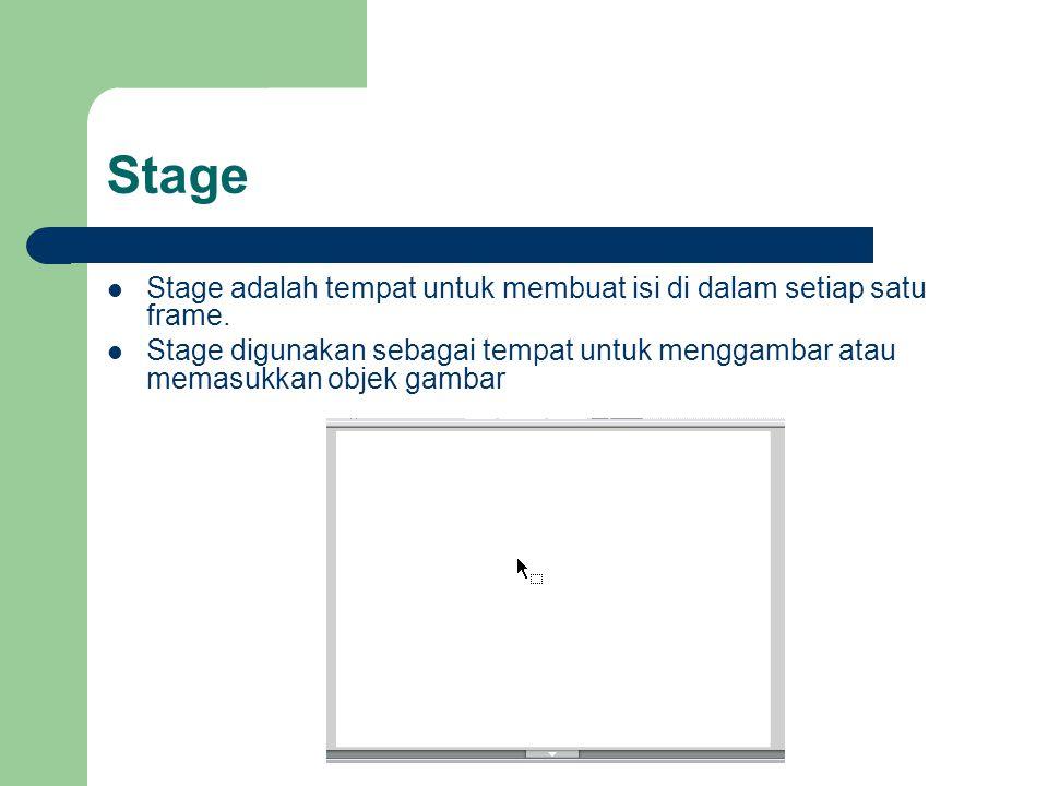 Stage  Stage adalah tempat untuk membuat isi di dalam setiap satu frame.  Stage digunakan sebagai tempat untuk menggambar atau memasukkan objek gamb