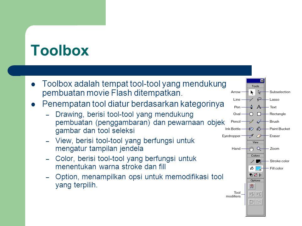 Toolbox  Toolbox adalah tempat tool-tool yang mendukung pembuatan movie Flash ditempatkan.  Penempatan tool diatur berdasarkan kategorinya – Drawing