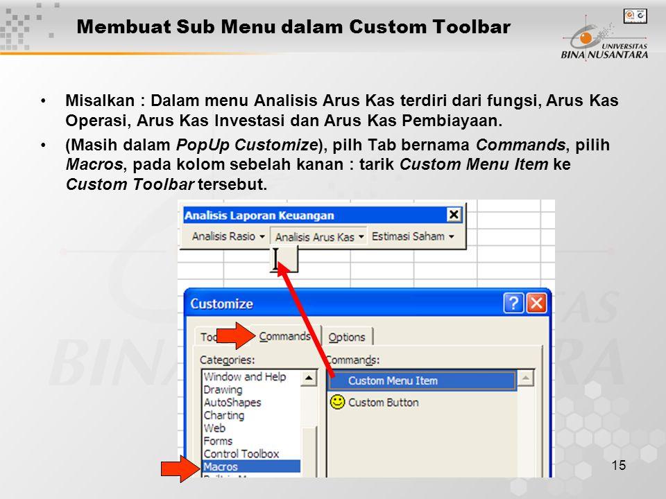 15 Membuat Sub Menu dalam Custom Toolbar •Misalkan : Dalam menu Analisis Arus Kas terdiri dari fungsi, Arus Kas Operasi, Arus Kas Investasi dan Arus K