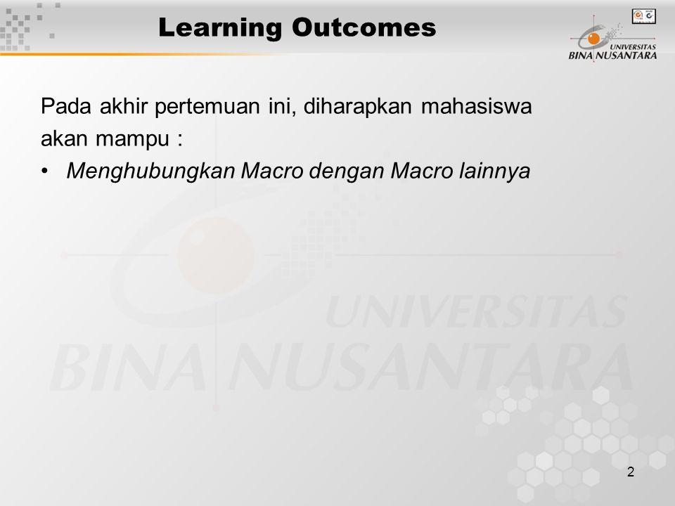 2 Learning Outcomes Pada akhir pertemuan ini, diharapkan mahasiswa akan mampu : •Menghubungkan Macro dengan Macro lainnya