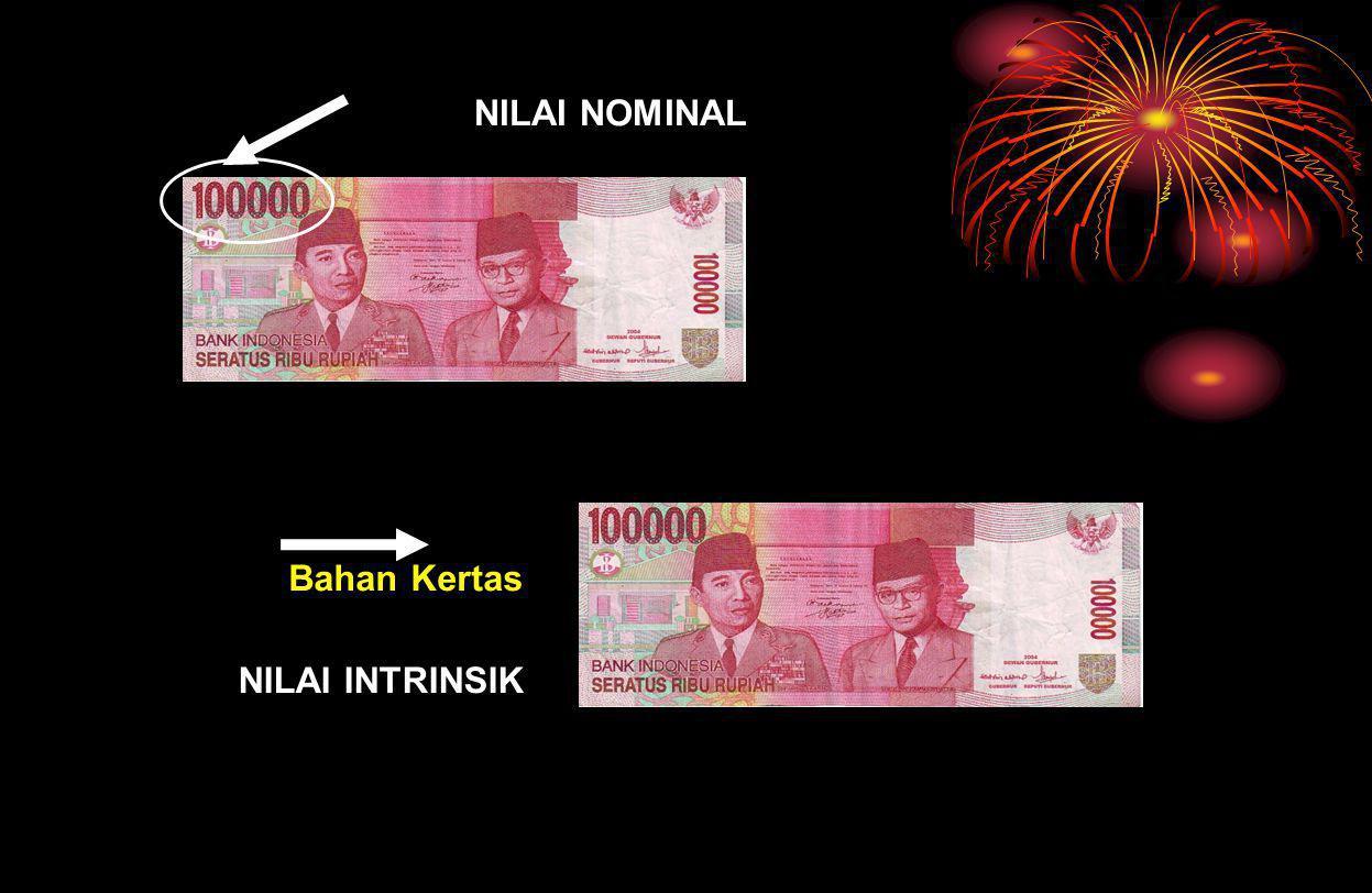 NILAI UANG NILAI EKSTERNAL NILAI INTRINSIK NILAI NOMINAL NILAI INTERNAL Nilai yang tertulis pada mata uang itu sendiri Nilai yg diukur dari jumlah bar