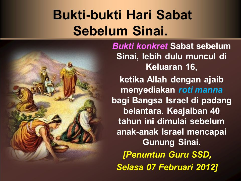Bukti-bukti Hari Sabat Sebelum Sinai.