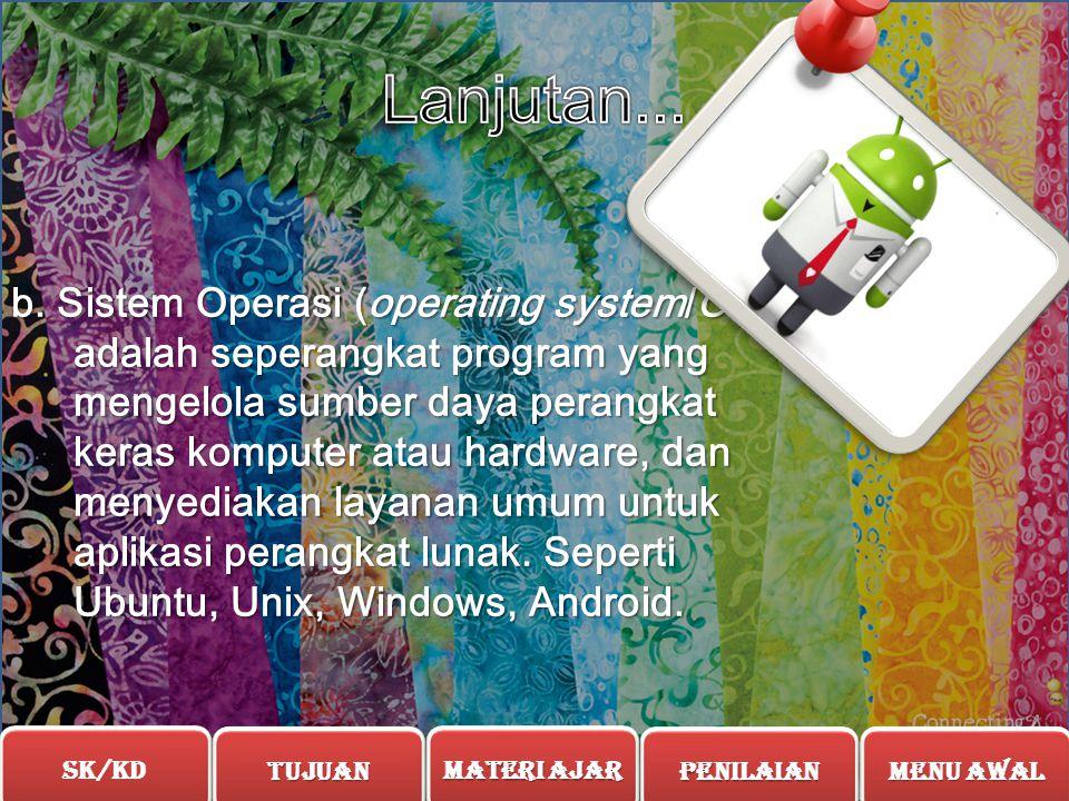 2. Macam-Macam Perangkat Lunak  Perangkat Lunak Aplikasi (software application) adalah suatu subkelas perangkat lunak komputer yang memanfaatkan kem