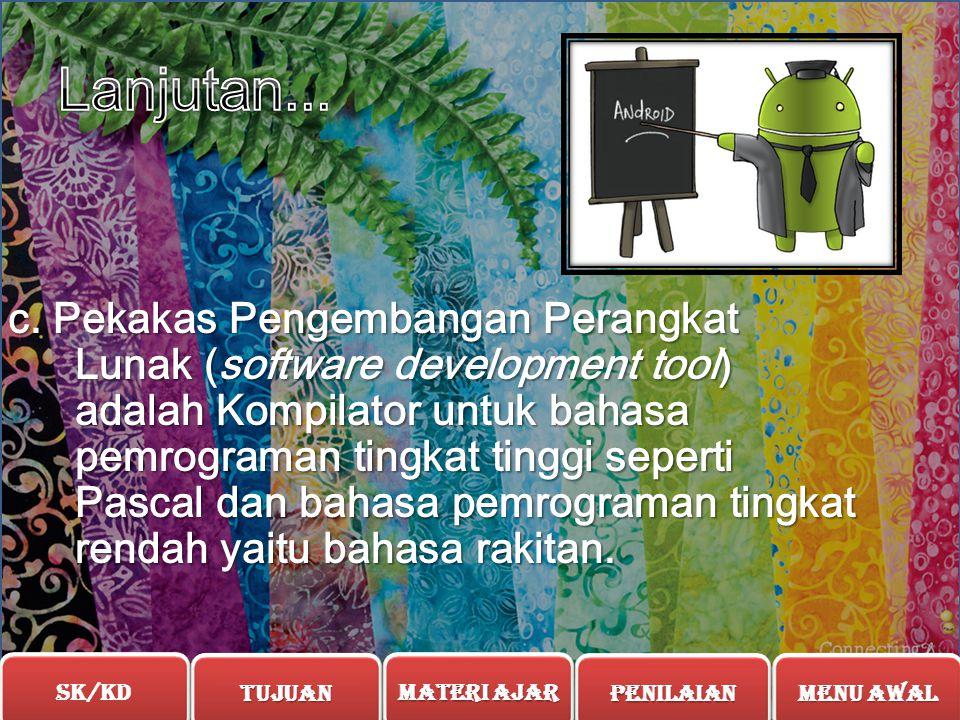 b. Sistem Operasi (operating system/OS) adalah seperangkat program yang mengelola sumber daya perangkat keras komputer atau hardware, dan menyediakan