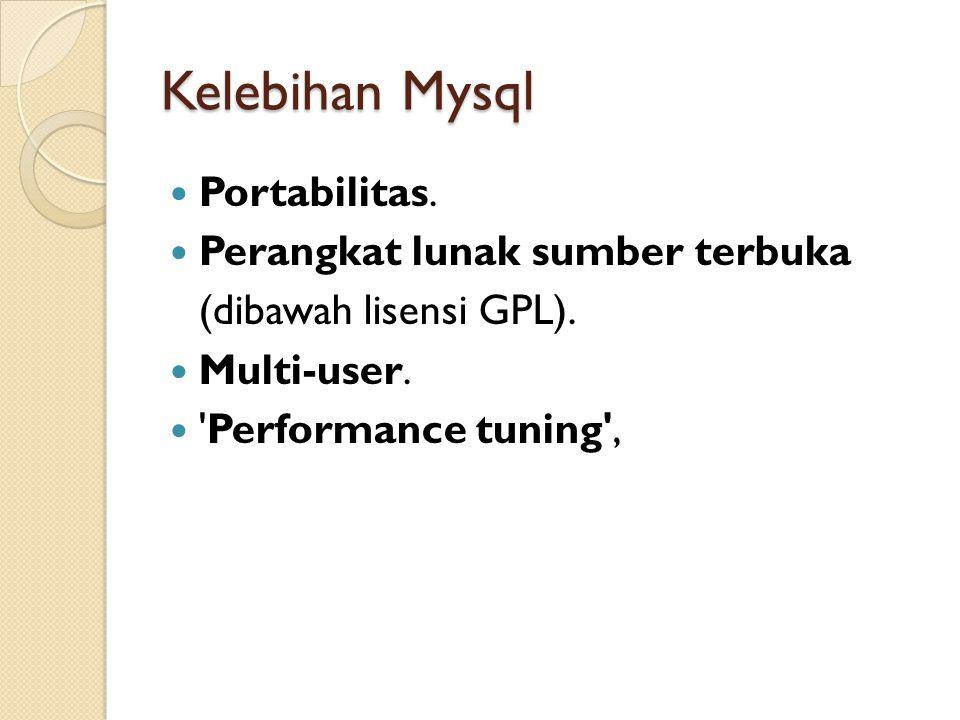 Kelebihan Mysql  Portabilitas.  Perangkat lunak sumber terbuka (dibawah lisensi GPL).  Multi-user.  'Performance tuning',