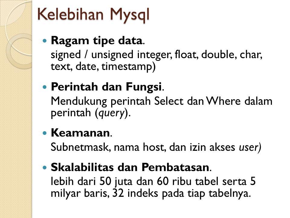 Kelebihan Mysql  Ragam tipe data. signed / unsigned integer, float, double, char, text, date, timestamp)  Perintah dan Fungsi. Mendukung perintah Se