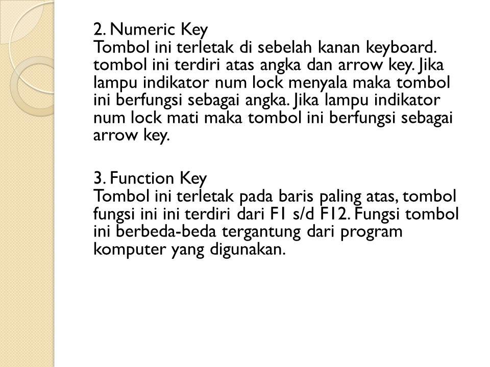 2. Numeric Key Tombol ini terletak di sebelah kanan keyboard. tombol ini terdiri atas angka dan arrow key. Jika lampu indikator num lock menyala maka