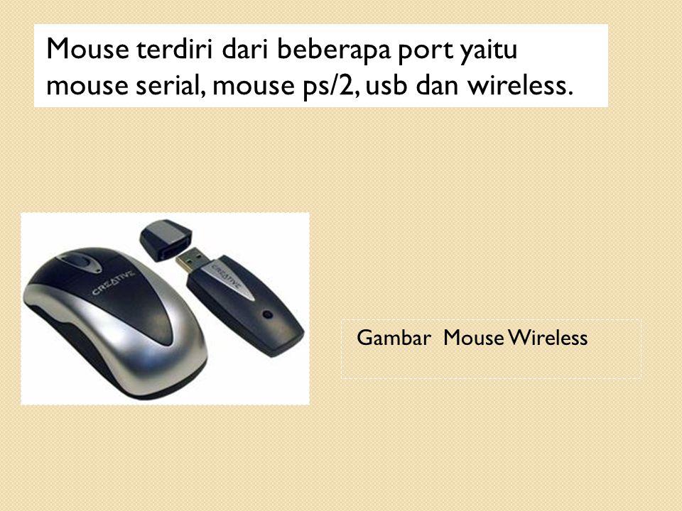Mouse terdiri dari beberapa port yaitu mouse serial, mouse ps/2, usb dan wireless. Gambar Mouse Wireless