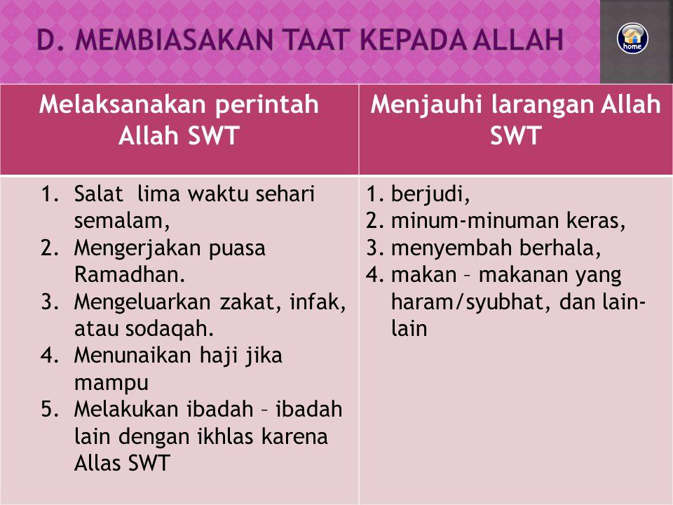 Melaksanakan perintah Allah SWT Menjauhi larangan Allah SWT 1.Salat lima waktu sehari semalam, 2.Mengerjakan puasa Ramadhan.