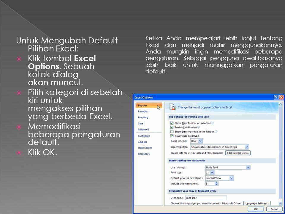 Untuk Mengubah Default Pilihan Excel:  Klik tombol Excel Options. Sebuah kotak dialog akan muncul.  Pilih kategori di sebelah kiri untuk mengakses p