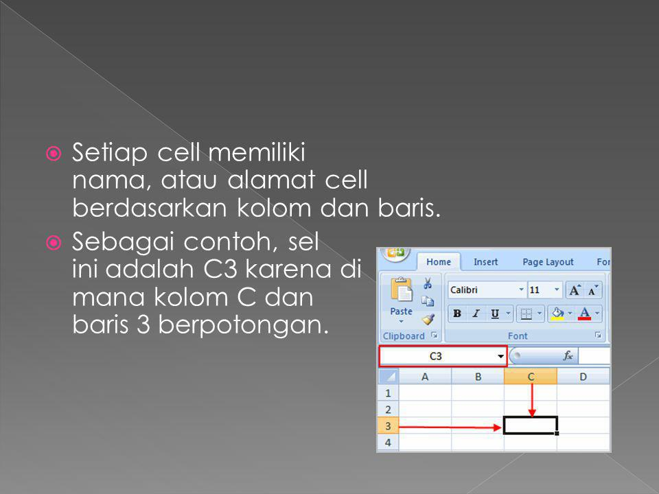  Setiap cell memiliki nama, atau alamat cell berdasarkan kolom dan baris.