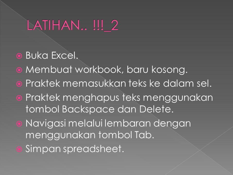  Buka Excel.  Membuat workbook, baru kosong.  Praktek memasukkan teks ke dalam sel.  Praktek menghapus teks menggunakan tombol Backspace dan Delet