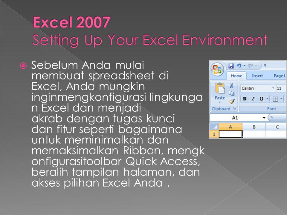  Sebelum Anda mulai membuat spreadsheet di Excel, Anda mungkin inginmengkonfigurasi lingkunga n Excel dan menjadi akrab dengan tugas kunci dan fitur