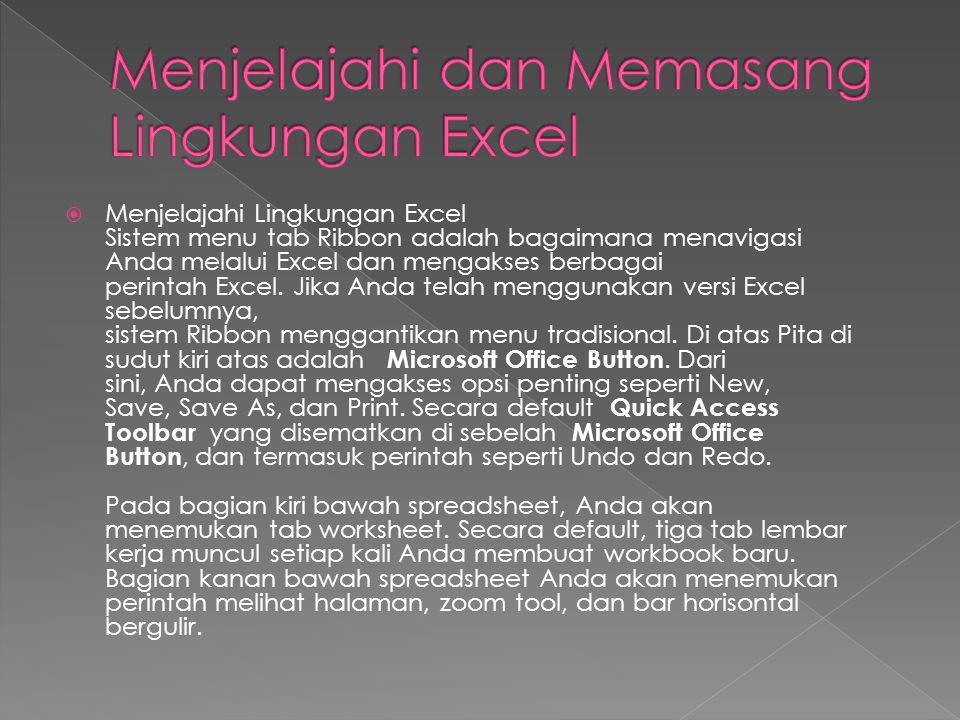  Menjelajahi Lingkungan Excel Sistem menu tab Ribbon adalah bagaimana menavigasi Anda melalui Excel dan mengakses berbagai perintah Excel. Jika Anda