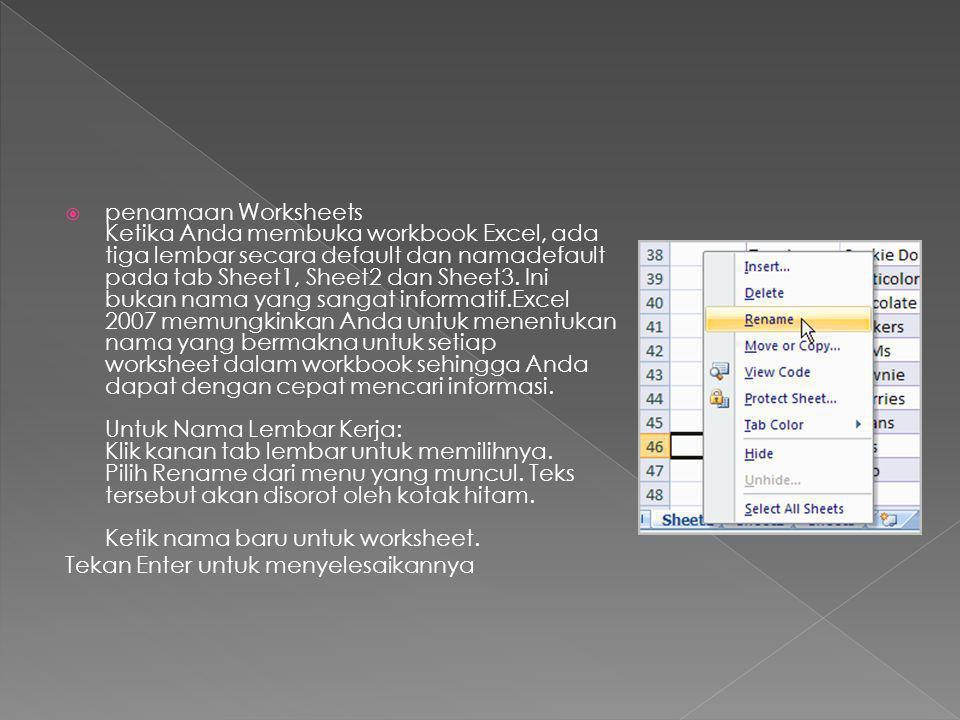 penamaan Worksheets Ketika Anda membuka workbook Excel, ada tiga lembar secara default dan namadefault pada tab Sheet1, Sheet2 dan Sheet3. Ini bukan