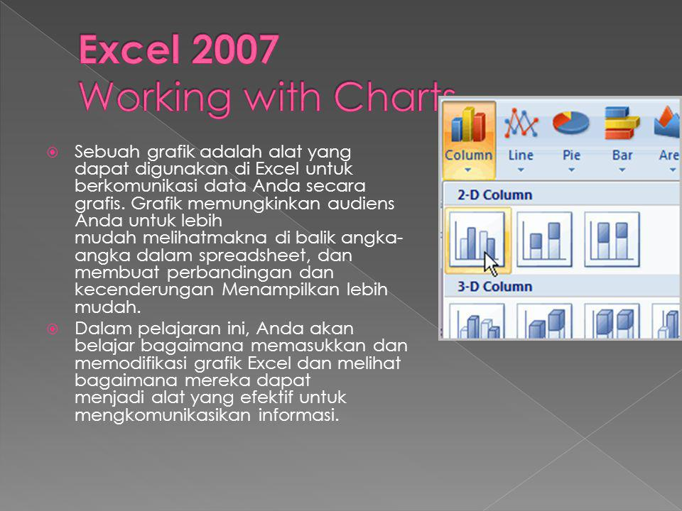  Sebuah grafik adalah alat yang dapat digunakan di Excel untuk berkomunikasi data Anda secara grafis. Grafik memungkinkan audiens Anda untuk lebih mu