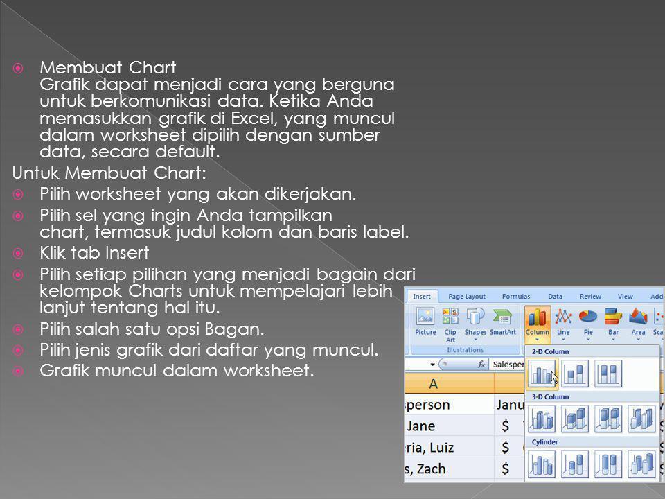  Membuat Chart Grafik dapat menjadi cara yang berguna untuk berkomunikasi data. Ketika Anda memasukkan grafik di Excel, yang muncul dalam worksheet d