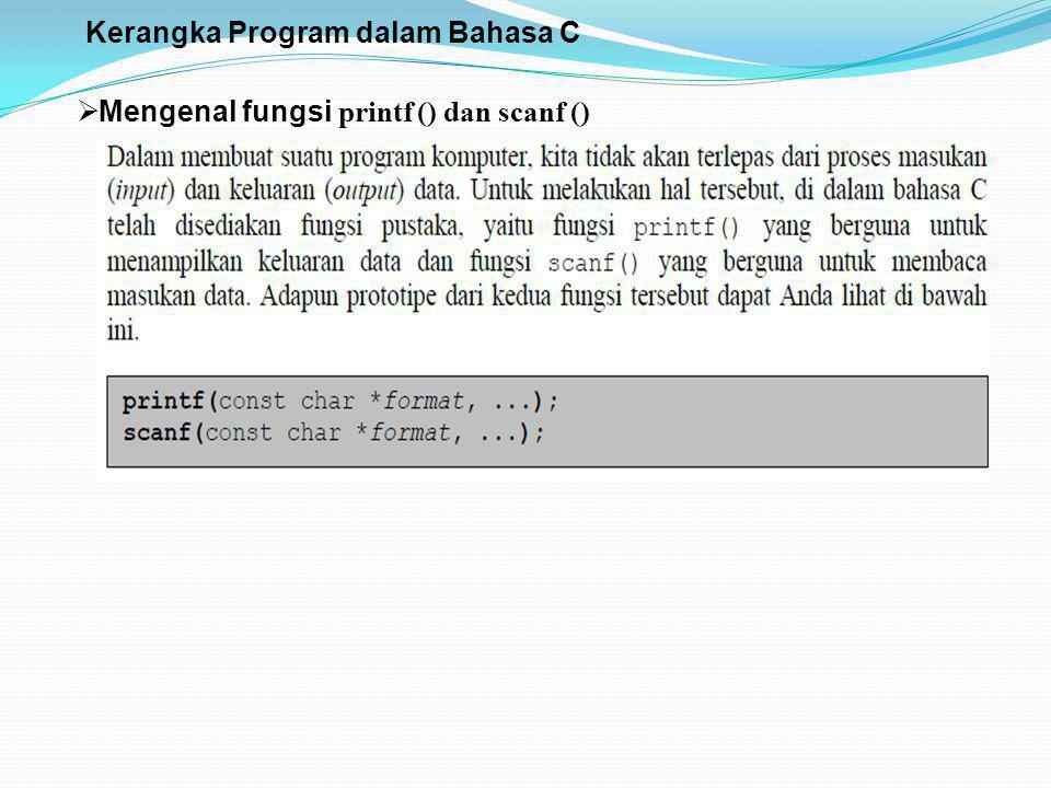 Kerangka Program dalam Bahasa C  Mengenal fungsi printf () dan scanf ()