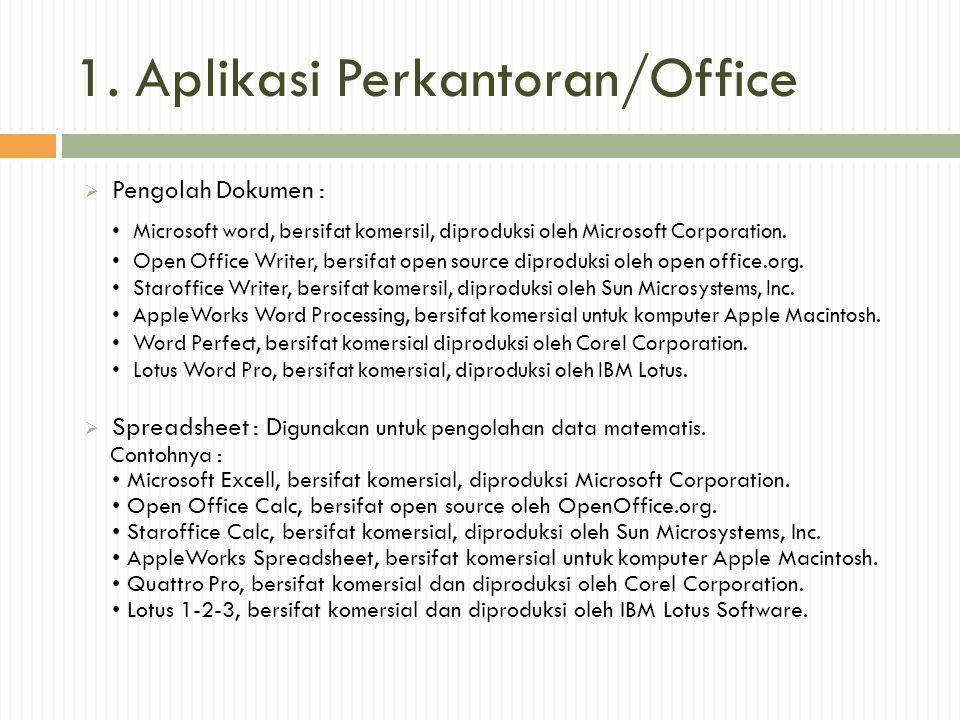 1. Aplikasi Perkantoran/Office  Pengolah Dokumen : • Microsoft word, bersifat komersil, diproduksi oleh Microsoft Corporation. • Open Office Writer,