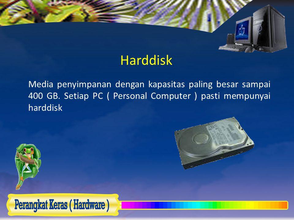 Harddisk Media penyimpanan dengan kapasitas paling besar sampai 400 GB. Setiap PC ( Personal Computer ) pasti mempunyai harddisk