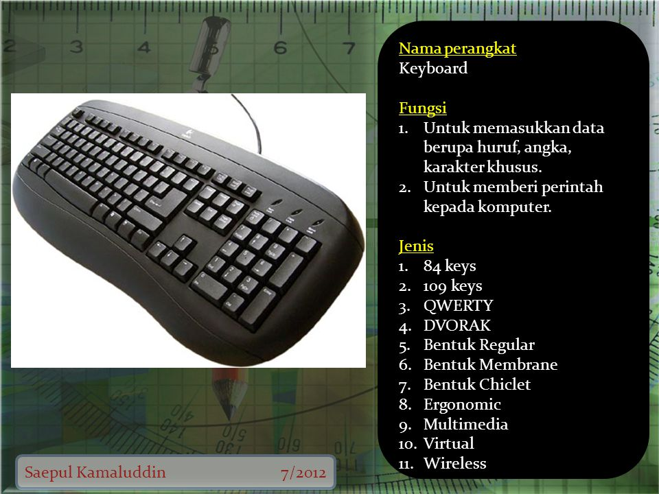 Saepul Kamaluddin7/2012 Nama perangkat Keyboard Fungsi 1.Untuk memasukkan data berupa huruf, angka, karakter khusus.