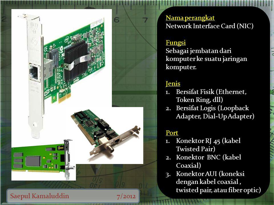 Saepul Kamaluddin7/2012 Nama perangkat Network Interface Card (NIC) Fungsi Sebagai jembatan dari komputer ke suatu jaringan komputer.