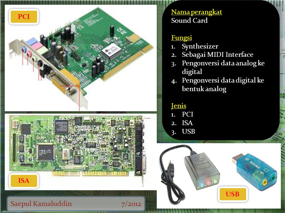 Saepul Kamaluddin7/2012 PCI ISA USB Nama perangkat Sound Card Fungsi 1.Synthesizer 2.Sebagai MIDI Interface 3.Pengonversi data analog ke digital 4.Pen