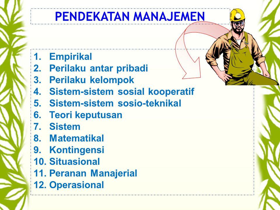 PENDEKATAN MANAJEMEN 1.Empirikal 2.Perilaku antar pribadi 3.Perilaku kelompok 4.Sistem-sistem sosial kooperatif 5.Sistem-sistem sosio-teknikal 6.Teori keputusan 7.Sistem 8.Matematikal 9.Kontingensi 10.Situasional 11.Peranan Manajerial 12.Operasional