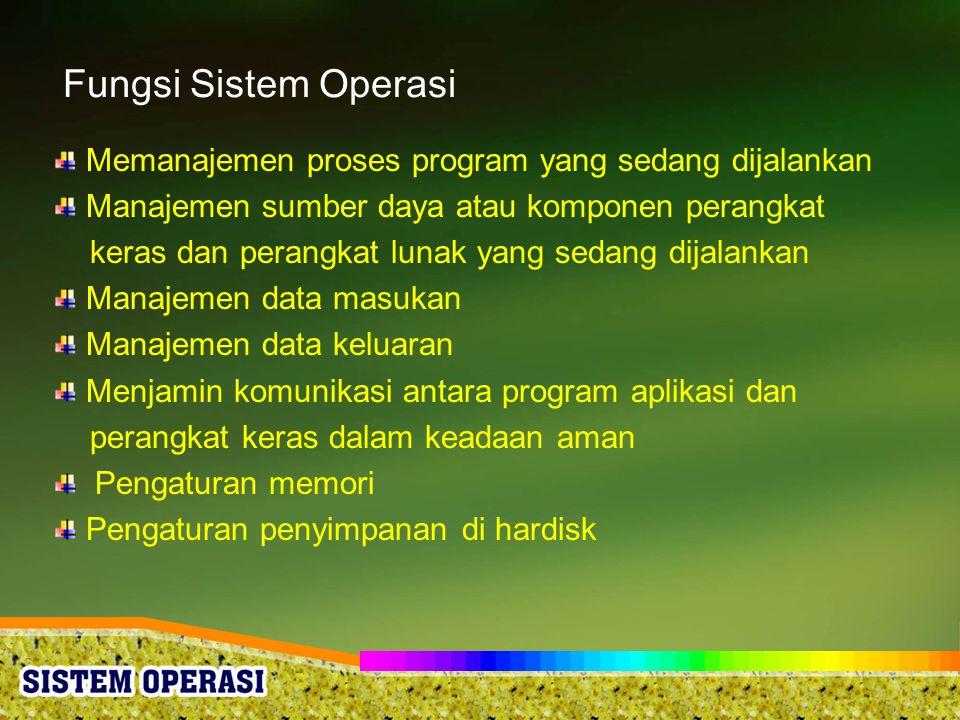 Fungsi Sistem Operasi Memanajemen proses program yang sedang dijalankan Manajemen sumber daya atau komponen perangkat keras dan perangkat lunak yang s