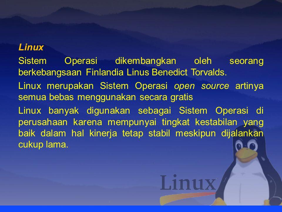 WindowsLinux Merupakan Sistem Operasi berbayar karena memiliki hak cipta yaitu Microsoft Corporation Sistem Operasi open source siapaun bebas menggunakan secara gratis Aplikasi / software yang dapat diinstall sangat banyak karena orang lebih terbiasa menggunakan windows Aplikasi / software yang dapat diinstall sangat terbatas karena tidak semua orang menggunakan linux Windows akan sering dimatikan apabila tidak digunakan karena tingkat kestabilan kinerjanya kurang Linux dirancang untuk tidak sering dimatikan karena tingkat kestabilan kinerjanya baik Dalam pertama menginstall windows hanya menyertakan sedikit software multimedia player, internet explorer, notepad Linux menyertakan banyak program ketika pertama diinstall seperti open office, internet browser, downloader