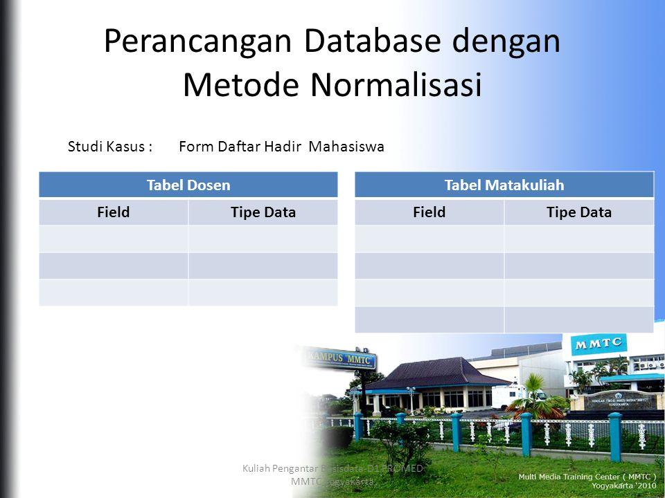 Perancangan Database dengan Metode Normalisasi Form Daftar Hadir MahasiswaStudi Kasus : Tabel Dosen FieldTipe Data Tabel Matakuliah FieldTipe Data Kuliah Pengantar Basisdata-D1 PROMED MMTC Yogyakarta