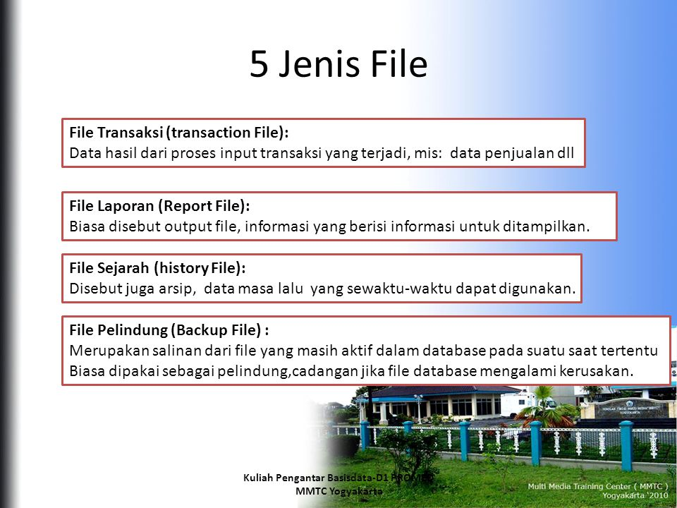 5 Jenis File File Transaksi (transaction File): Data hasil dari proses input transaksi yang terjadi, mis: data penjualan dll File Laporan (Report File): Biasa disebut output file, informasi yang berisi informasi untuk ditampilkan.