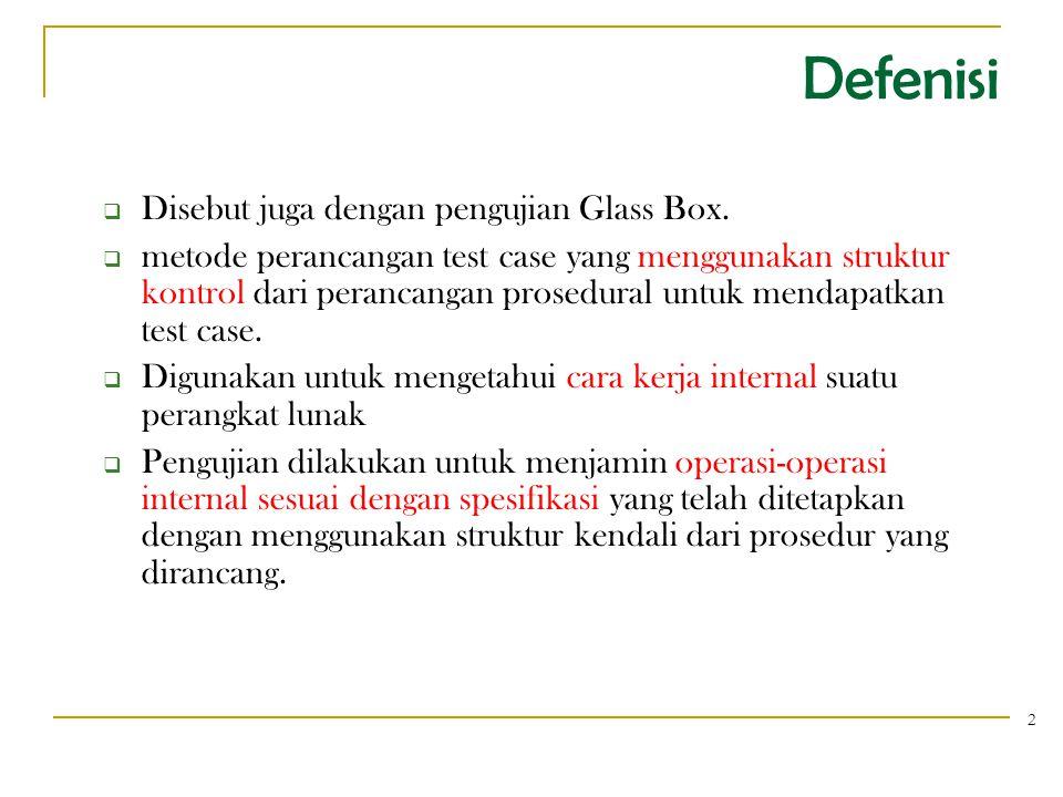 Defenisi  Disebut juga dengan pengujian Glass Box.  metode perancangan test case yang menggunakan struktur kontrol dari perancangan prosedural untuk