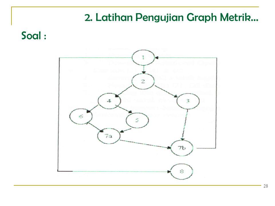 2. Latihan Pengujian Graph Metrik... 28 Soal :