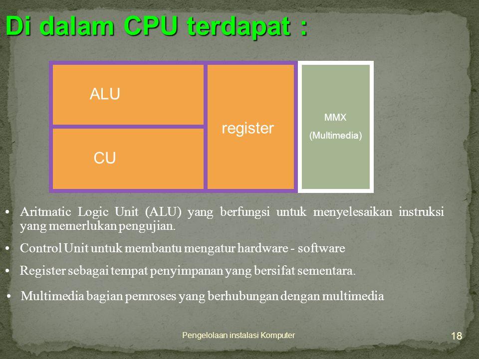 18 Pengelolaan instalasi Komputer •Aritmatic Logic Unit (ALU) yang berfungsi untuk menyelesaikan instruksi yang memerlukan pengujian.