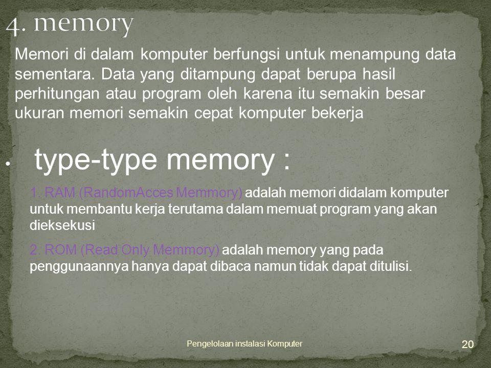 20 Pengelolaan instalasi Komputer Memori di dalam komputer berfungsi untuk menampung data sementara.