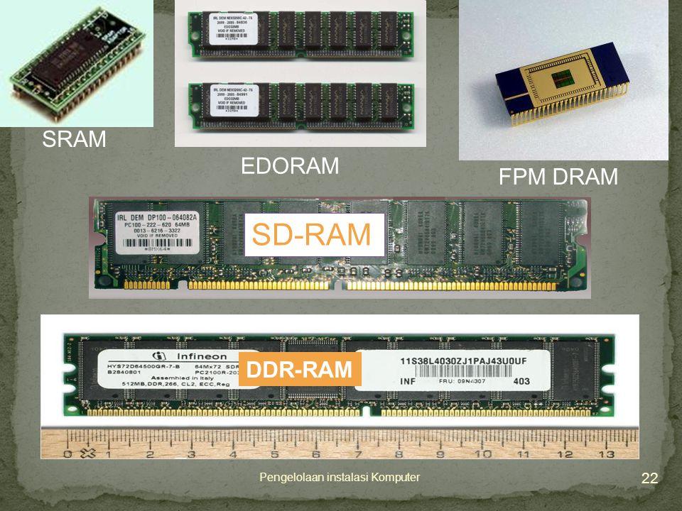 22 Pengelolaan instalasi Komputer SRAM EDORAM FPM DRAM SD-RAM DDR-RAM