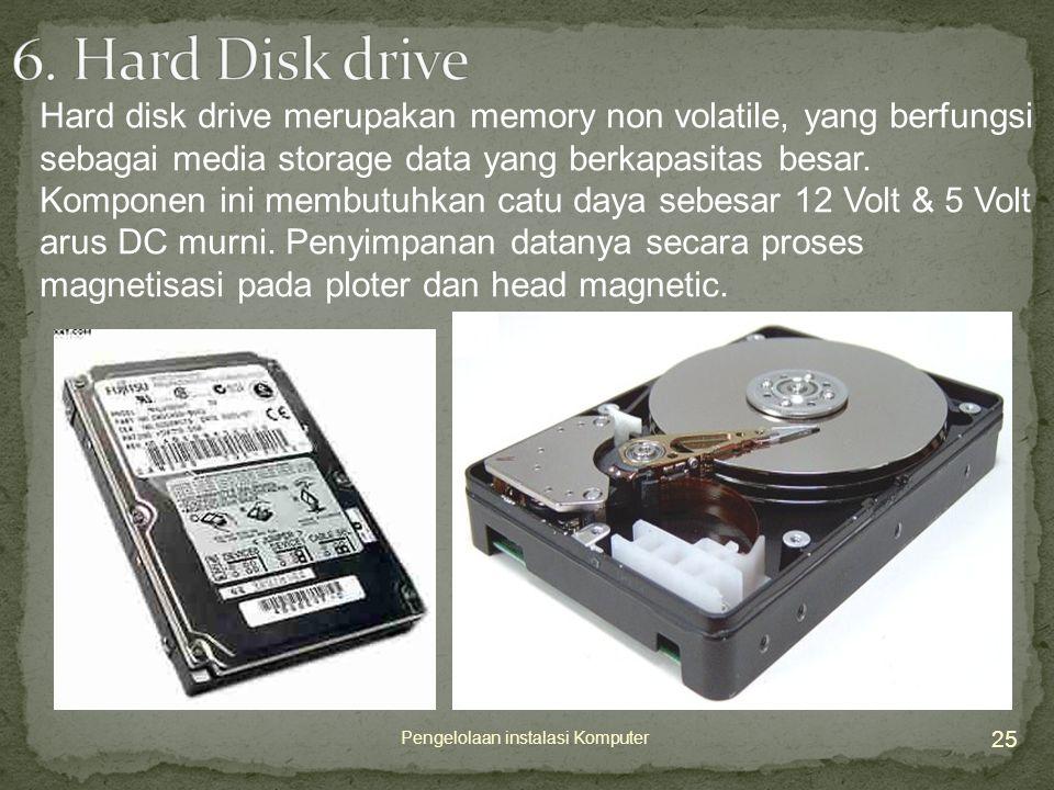 25 Pengelolaan instalasi Komputer Hard disk drive merupakan memory non volatile, yang berfungsi sebagai media storage data yang berkapasitas besar.