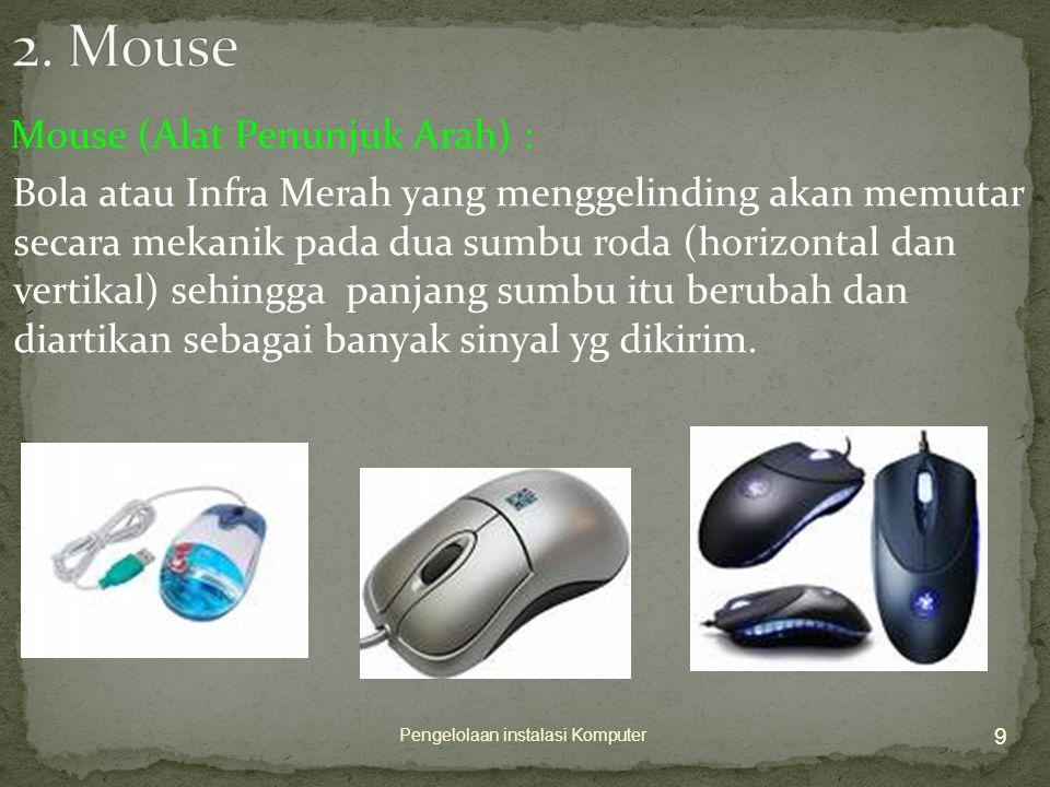 Mouse (Alat Penunjuk Arah) : Bola atau Infra Merah yang menggelinding akan memutar secara mekanik pada dua sumbu roda (horizontal dan vertikal) sehingga panjang sumbu itu berubah dan diartikan sebagai banyak sinyal yg dikirim.