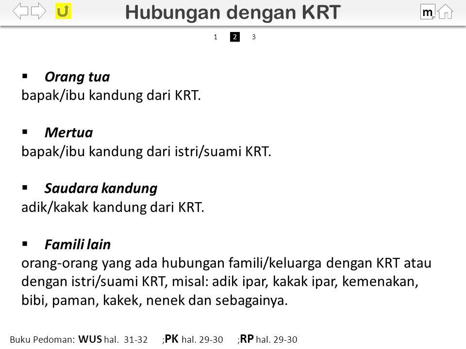  Orang tua bapak/ibu kandung dari KRT.  Mertua bapak/ibu kandung dari istri/suami KRT.
