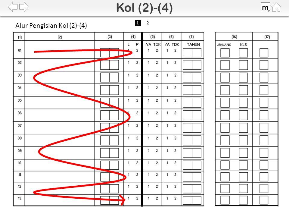 Jika • pria, • umur 15-24 tahun, dan • status Belum Kawin, maka lingkari nomor urut di Kolom (11).