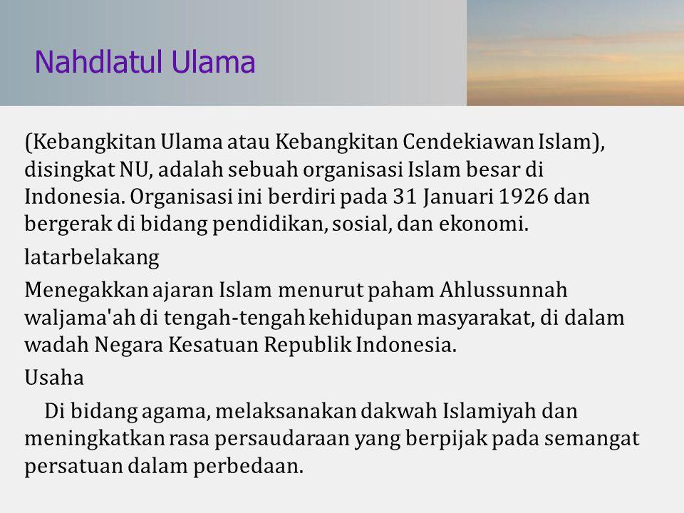 Nahdlatul Ulama (Kebangkitan Ulama atau Kebangkitan Cendekiawan Islam), disingkat NU, adalah sebuah organisasi Islam besar di Indonesia. Organisasi in
