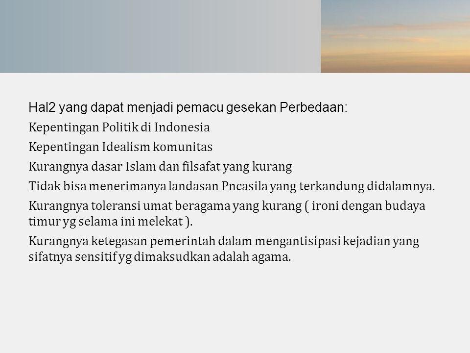 Hal2 yang dapat menjadi pemacu gesekan Perbedaan: Kepentingan Politik di Indonesia Kepentingan Idealism komunitas Kurangnya dasar Islam dan filsafat y