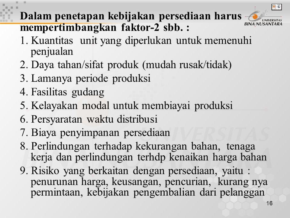 16 Dalam penetapan kebijakan persediaan harus mempertimbangkan faktor-2 sbb. : 1. Kuantitas unit yang diperlukan untuk memenuhi penjualan 2. Daya taha