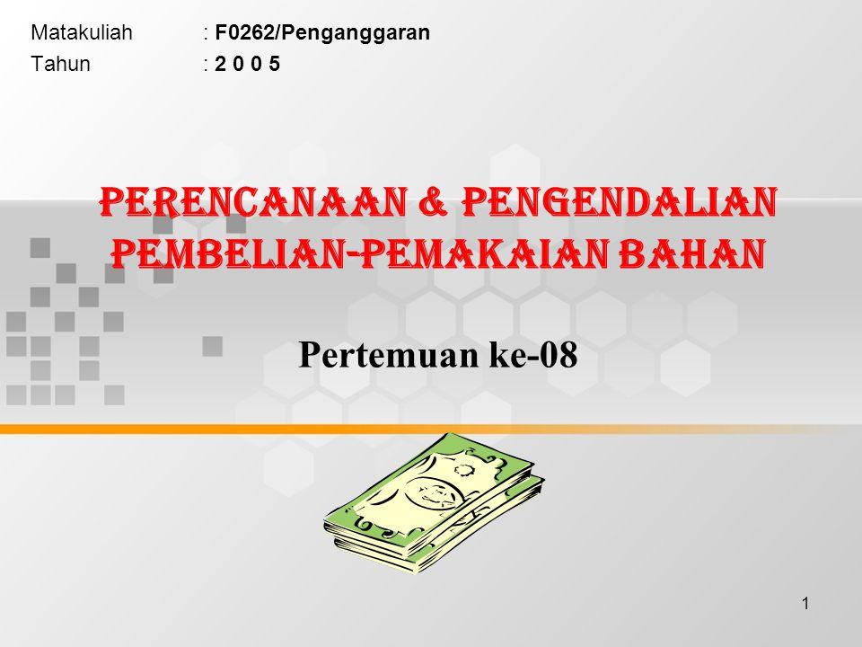 12 Model Pemesanan Ekonomis (Economic Order Quantity = EOQ) •Berdasarkan bahwa jumlah Biaya Pemesanan dan Biaya Penyimpanan harus minimum, maka manajemen (Bagian Pembelian) perlu menetapkan berapa jumlah pembelian yang ekonomis setiap kali melakukan pembelian.