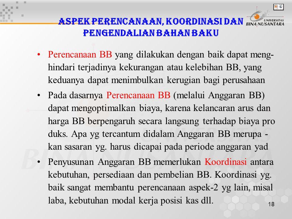 18 Aspek Perencanaan, Koordinasi dan Pengendalian Bahan Baku •Perencanaan BB yang dilakukan dengan baik dapat meng- hindari terjadinya kekurangan atau